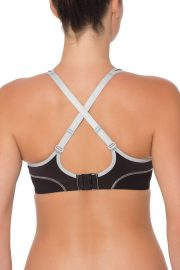 Triumph Triaction Performance Sports Bra, Colour Black Silver, Crossed Back View