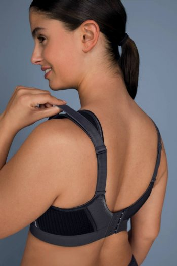 Anita Active Extreme Control Plus Sports Bra, Black Grey, Back View