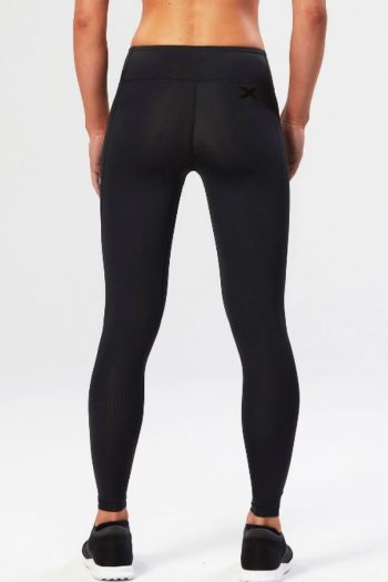 2XU Mid-Rise Compression Tights, Black, Back View