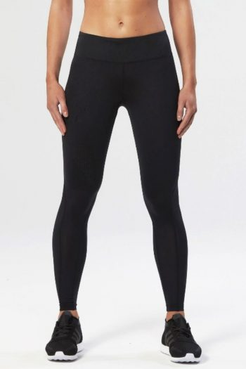 2XU Mid-Rise Compression Tights, Black, Front View